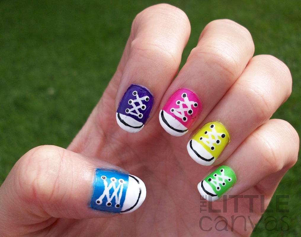 How to Paint Miniature Converse Sneakers on Your Nails - Girls have ...